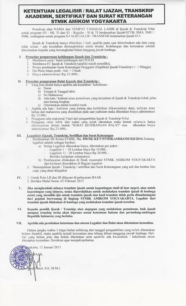 Ketentuan Legalisir Ijazah Transkip Dan Surat Keterangan