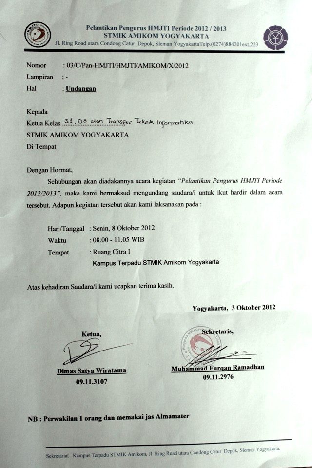 undangan pelantikan hmj-ti periode 2012-2013