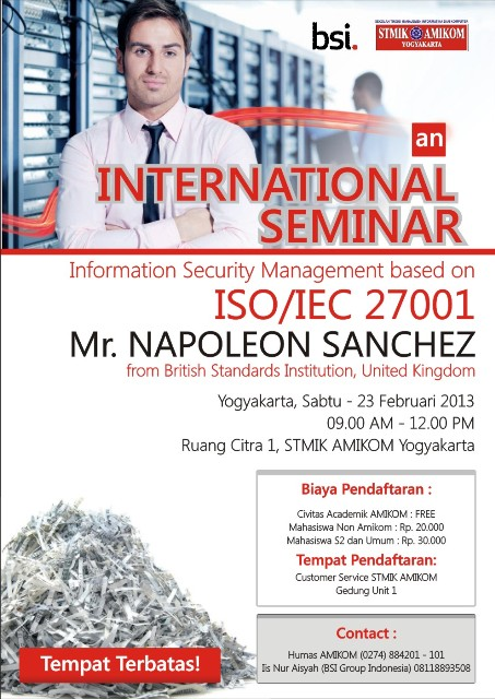 "Seminar Internasional ""Information Security Management Based on ISO"