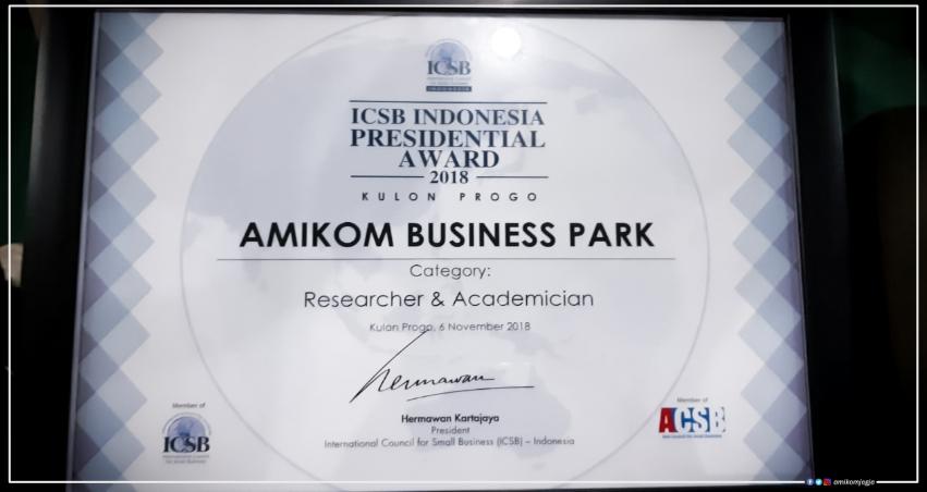 Amikom Business Park Mendapatkan penghargaan ICSB INDONESIA PRESIDENTIAL AWARD 2018